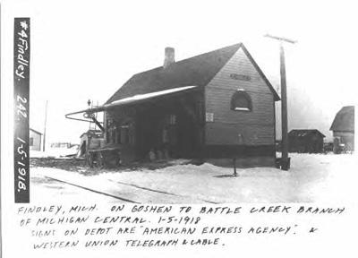 Photo of the Pumpkin Vine Railroad depot in Findley, Michigan