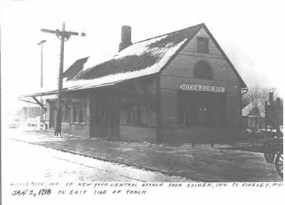 A photo of the Pumpkin Vine Railroad depot in Middlebury