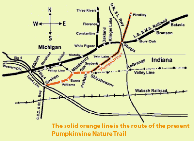 Historical map of the Pumpkin Vine railroad