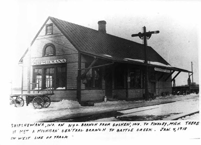 Photo of the railroad depot in Shipshewana