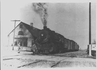 Photo of a steam engine parked at the Shipshewana depot