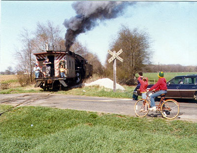 Photo of a train crossing County Road 35 around 1975