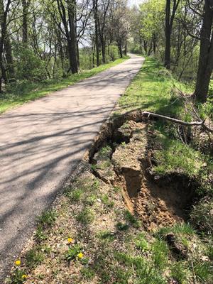 Photo of soil erosion along the Pumpkinvine Nature Trailo