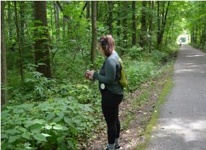 Isabela Torres surveying plants along the trail