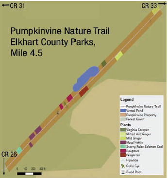 Trail map showing results of plant survey