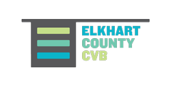 Elkhart County Convention and Visitors Bureau logo.
