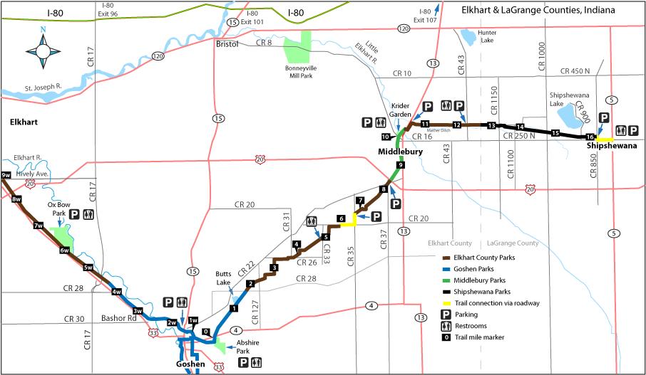Trail jurisdiction map from Elkhart to Shipshewana.