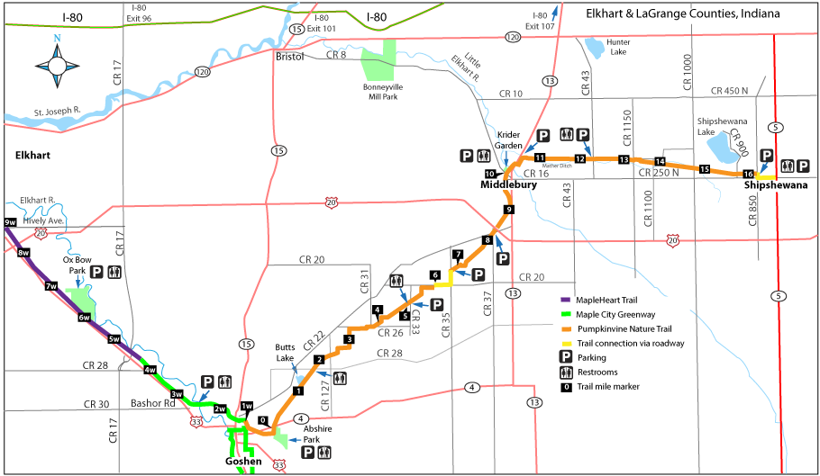 Trail map from Elkhart to Shipshewana