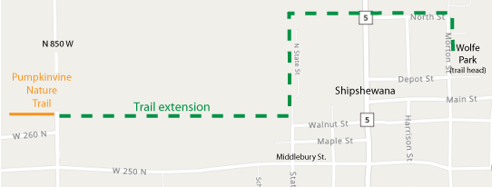 Map showing the trail extension into Shipshewana.